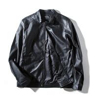 【秒杀价71元】唐狮秋装新款外套 男款潮酷黑色立领PU皮衣外套时尚上衣Z