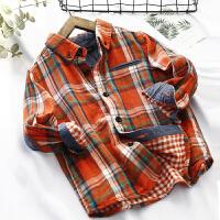 男童长袖格子衬衫儿童衬衣双层棉纱