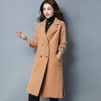长款开叉仿双面呢大衣外套 冬季新品女士毛衣外套 厂家现货