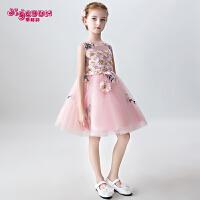儿童礼服裙粉色婚纱公主裙女孩钢琴演出晚礼服走秀主持人夏季