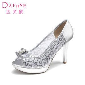 Daphne/达芙妮女鞋 性感百搭鱼嘴简约蝴蝶结装饰女单鞋1014102062