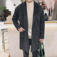 秋冬季港风潮流韩版呢子大衣男宽松毛呢外套青少年中长款加厚风衣