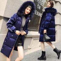 新款冬装韩国大毛领宽松大码加厚过膝长款外套羽绒服女中长款
