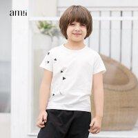 amii童装2018春夏新款男童错落印花打底衫中大童儿童短袖T恤