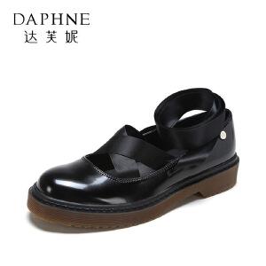 Daphne/达芙妮 春款方跟优雅丝绸系带粗跟单鞋
