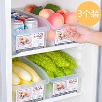 日本厨房收纳箱塑料储物箱透明抽屉式整理箱冰箱收纳盒带轮个装 三个装 364长x191x136高mm