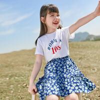 女童套装裙儿童短袖套装中大童夏装休闲两件套