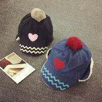儿童棒球帽1-2岁加绒冬季护耳帽雷锋帽鸭舌帽男女宝宝帽子牛仔布