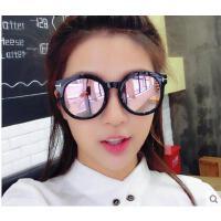 时尚圆墨镜个性彩膜圆大框太阳镜 女士户外太阳眼镜复古大脸墨镜遮阳镜