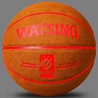 篮球室外水泥地耐磨防滑牛皮真皮手感软皮7号黑翻毛学生礼物