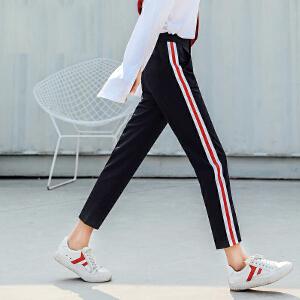 七格格港风运动裤子女学生宽松韩版黑色九分小脚百搭原宿bf2018春装新款