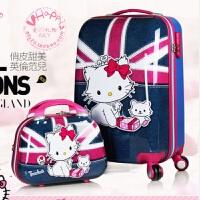 七夕礼物学生拉杆箱子母箱女韩国可爱儿童旅行登机箱猫咪20寸行李箱