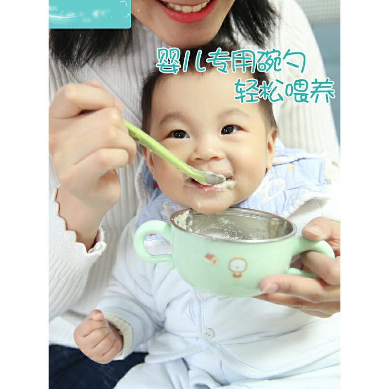 婴儿勺子宝宝硅胶软勺 儿童餐具碗勺套装新生儿喂水辅食勺学吃饭  h9h 硅胶软勺304不锈钢碗安全可靠