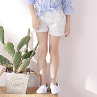女童牛仔短裤夏中大童白色毛边外穿裤子韩版破洞儿童热裤