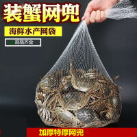 装大闸蟹网袋 螃蟹网兜水产网袋批发包装大闸蟹的塑料编织尼龙小网眼格袋子 110cm特厚网袋100个 带网扣