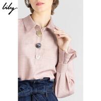Lily2019冬新款女装造型纽扣格子拼接粉色套头上衣长袖雪纺衫8E40