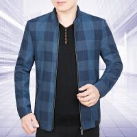 新款秋季上衣男装外套商务休闲立领秋装薄款中年男士夹克衫
