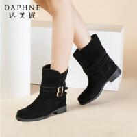 Daphne/达芙妮短靴 秋冬款低跟圆头带扣绒面短筒靴