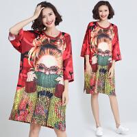 街拍泰国潮牌女春夏新品潮印花短袖打底衫体恤宽松个性中长款T恤