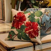 美式棉麻刺绣红色大花抱枕含芯客厅沙发靠垫套床头软包靠背靠枕垫