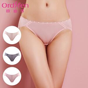【2件3折到手价约:59】欧迪芬(3条装)内裤女性感蕾丝边低腰提臀三角裤女士底裤XK6A32