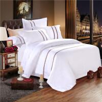宾馆酒店床上用品四件套三4件套旅馆纯白色床单床笠被套床品