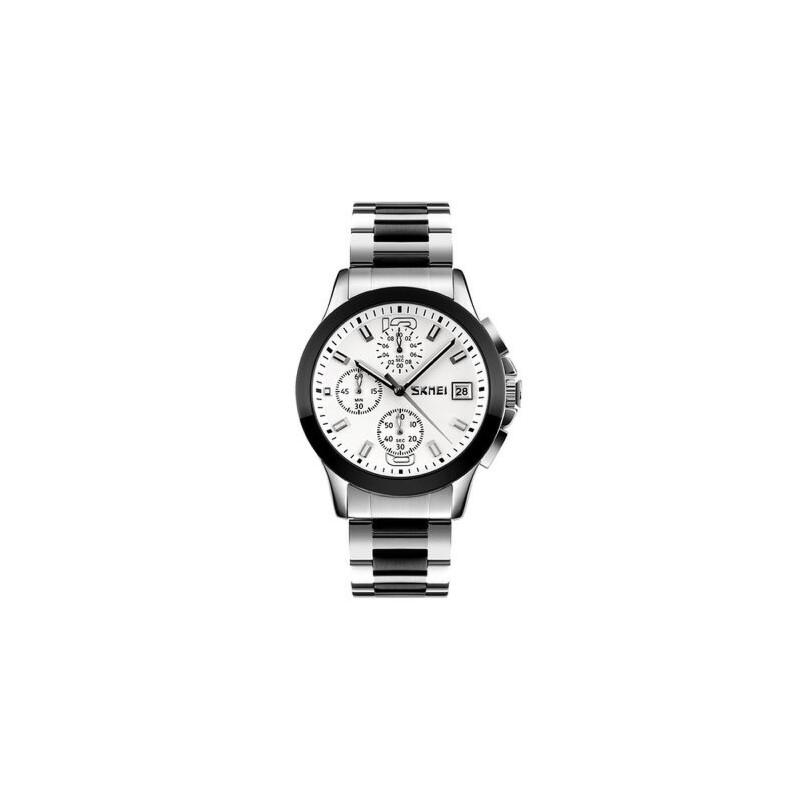 男士手表防水个性时尚石英手表潮流商务六针钢带复古腕表 品质保证 售后无忧 支持货到付款