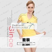 羽毛球服网球服女款套装 修身显瘦亮丽黄白