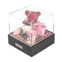 花苔藓玫瑰小熊礼盒摆件七夕情人节纪念生日礼物 -礼盒装