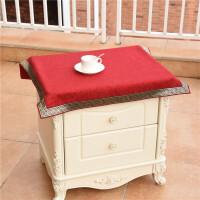 小盖布 新中式欧式田园布艺床头柜罩防尘罩洗衣机冰箱盖巾小桌布 两张