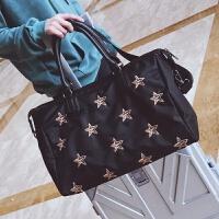 旅行包女手提�n版短途大容量行李袋�p便��s旅行袋防水尼��健身包 黑色