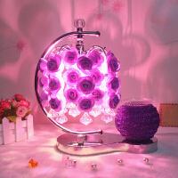 水晶台灯创意婚房装饰灯卧室床头灯台灯温馨玫瑰花结婚礼物