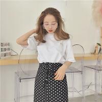韩版时尚休闲套装夏装女装宽松短袖T恤上衣+波点包臀短裙两件套潮 均码
