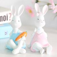 卡通家居装饰品创意摆件生日礼物可爱少女树脂兔子闺蜜情人节礼物 坐款一对