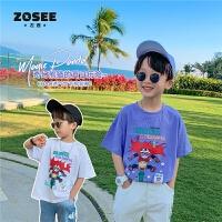 【2件2折】左西童装男童短袖T恤夏季儿童白色上衣洋气中大童夏装2021新款潮