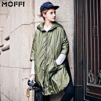 秋季欧美新款女士七分袖连帽拉链军绿色宽松长款棉衣 绿色