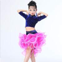 新款女童分体亮钻蓬蓬裙练功服蓬蓬裙 儿童拉丁舞服比赛演出服春夏