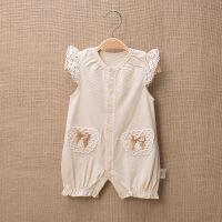 活力熊仔 婴儿服装夏季无袖哈衣爬服彩棉女宝宝连体衣服新生儿童装