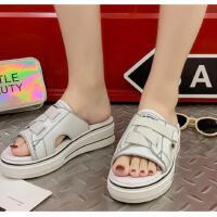 时尚拖鞋小白鞋无后跟厚底新款ins简单时尚百搭学生平底外穿