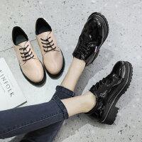 韩版百搭乐福鞋女 学生休闲平底单鞋女 复古英伦小皮鞋女 新款粗跟漆皮鞋子