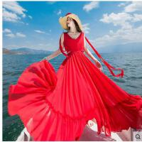海边度假沙滩裙性感V领露腰复古休闲长裙时尚 女大红雪纺大摆长裙连衣裙支持礼品卡支付