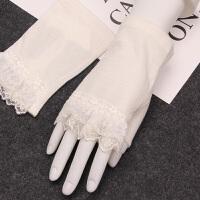 夏季短款半指手套女开车蕾丝手套女士防滑薄款遮疤痕夏天手套 白色 均码