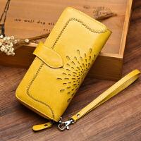 新款女士钱包女长款手拿包多卡位大容量h 古黄色