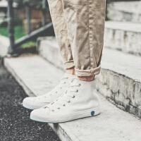 2018新款男鞋子林弯弯学生帆布鞋潮男高帮鞋时尚休闲鞋小白鞋ulzzang