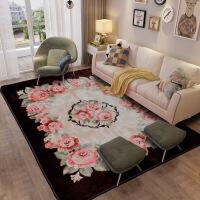 地毯客厅茶几毯欧式简约现代沙发地毯卧室床边毯珊瑚绒地垫可机洗SN7337 咖啡色 玫瑰花-咖啡色