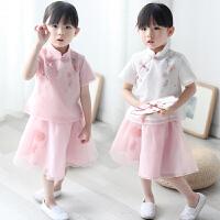 汉服女童童装儿童复古中国风唐装夏装小女孩民国套装服装