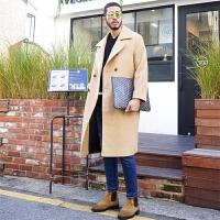 纯色羊绒大衣男长款过膝呢子大衣韩版宽松落肩毛呢外套冬帅气风衣
