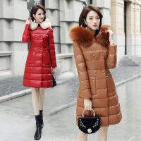 冬装新款韩版中长款pu皮女中长款时尚显瘦连帽加厚棉衣女