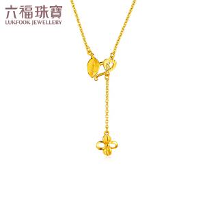 六福珠宝一款两戴黄金吊坠女花心意足金项链吊坠 GDGTBN0001