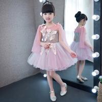婚纱礼服飞飞袖儿童礼服飘带裙 2018新款烟粉色花童礼服蓬蓬裙女童